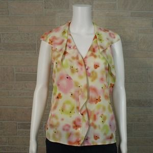 Ann Taylor Floral Ruffled Button Front Shirt Top 6